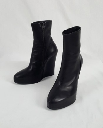 Ann Demeulemeester black platform wedge boots — fall 2011