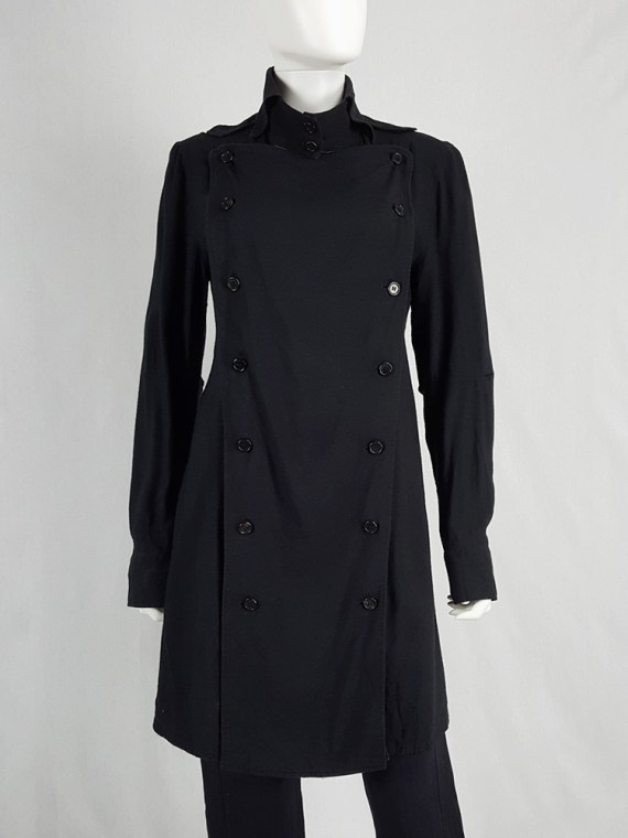 Ann Demeulemeester black shirt with double buttoned front panel — fall 2004