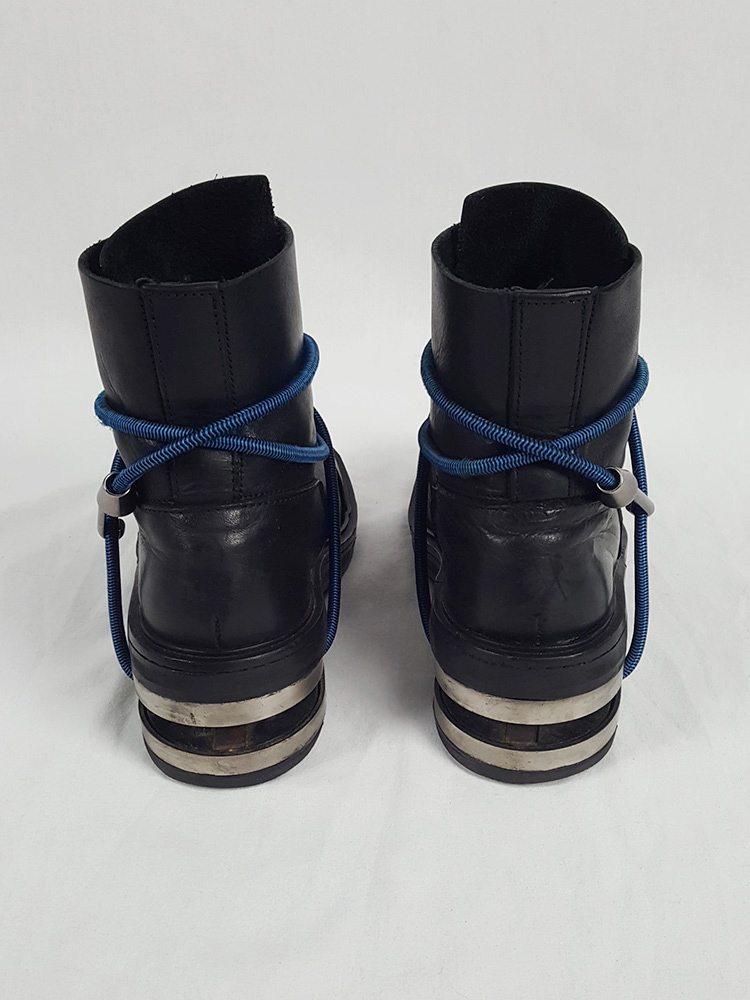 Dirk Bikkembergs black mountaineering boots with black and blue elastic (37) — fall 1996
