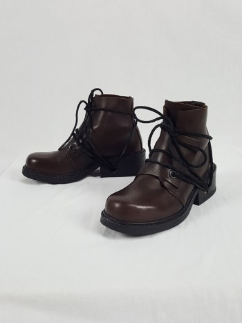 Dirk Bikkembergs brown boots with flap and laces through the soles (38) — late 90's
