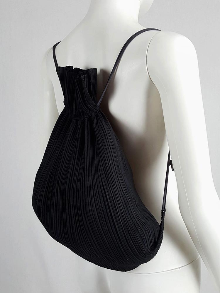Issey Miyake Pleats Please black drawstring backpack