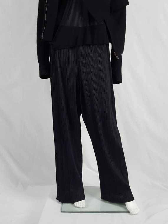 Issey Miyake Pleats Please black pleated relaxed trousers