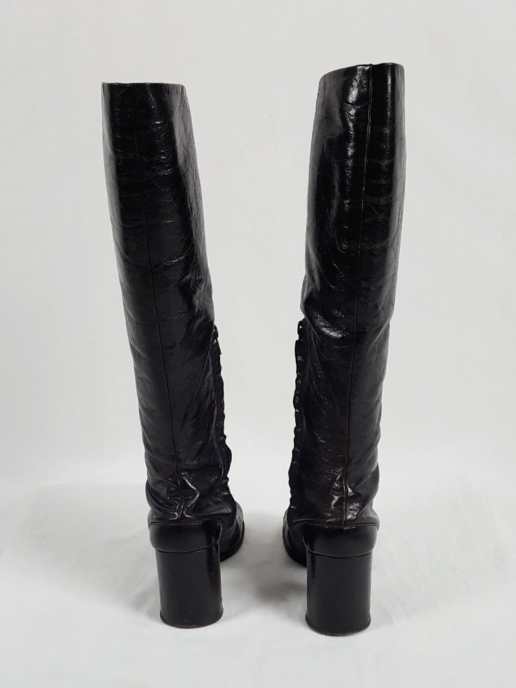 Maison Martin Margiela brown tall tabi boots with round heel (39) — fall 2003