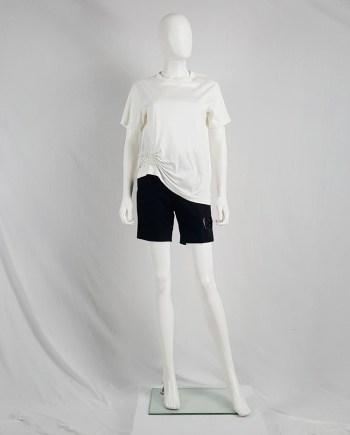 Noir Kei Ninomiya white t-shirt gathered by rows of pearls — spring 2015