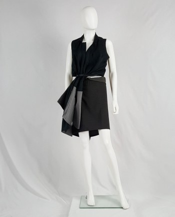 Ann Demeulemeester grey skirt with back drape — 1990's