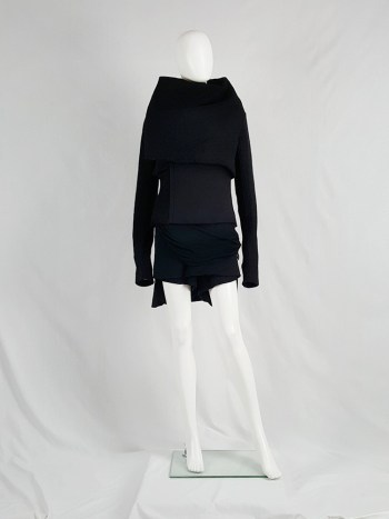 Rick Owens GLEAM black asymmetric jacket with oversized neckline — fall 2010