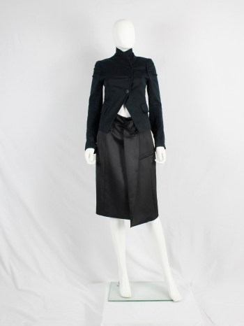 A.F. Vandevorst black pencil skirt with blazer lapel and breast pocket — spring 2013