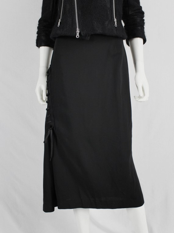 A.F. Vandevorst black skirt with corset-lacing on the side — fall 2006