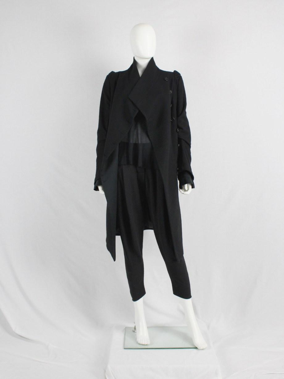 vaniitas vintage Ann Demeulemeester black long coat with asymmetric button closure 5100