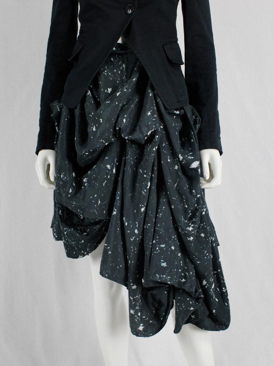 vaniitas vintage Ann Demeulemeester dark blue draped skirt with paint splatters runway fall 2005 39