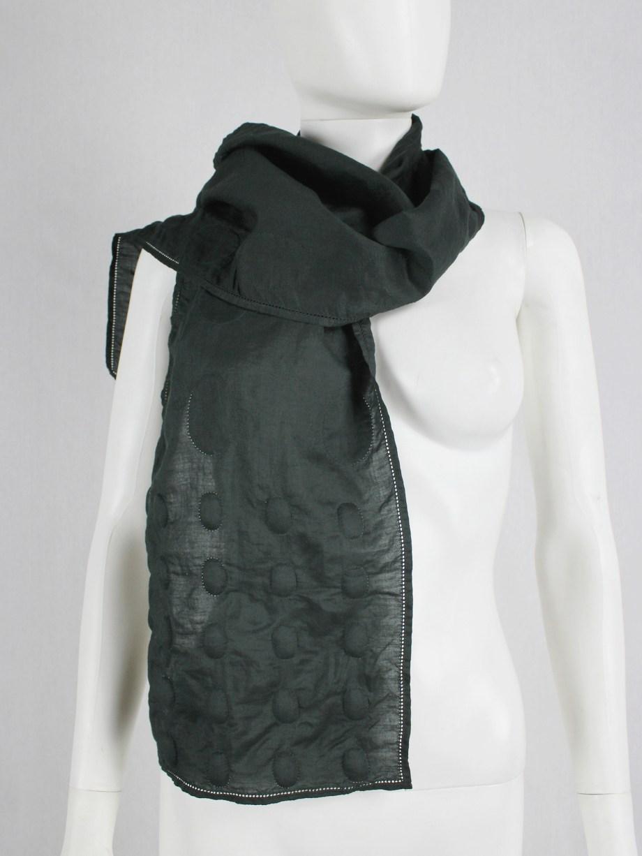Issey Miyake dark green scarf with 3D padded circles