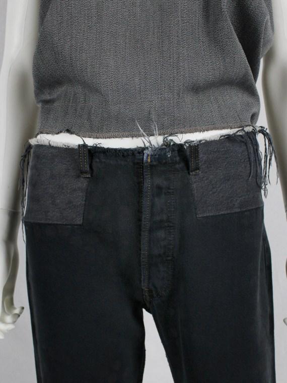 Maison Martin Margiela artisanal denim trousers with cut-off waist and circle print — fall 1998
