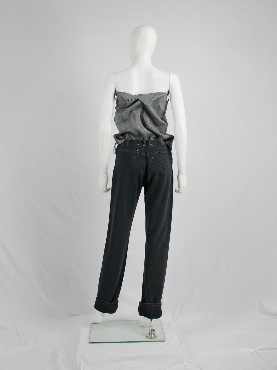 Maison Martin Margiela artisanal denim trousers with cut-off waist and circle print — fall 1998