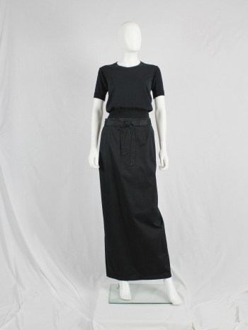Maison Martin Margiela black maxi skirt with trompe-l'oeil bow — spring 1999