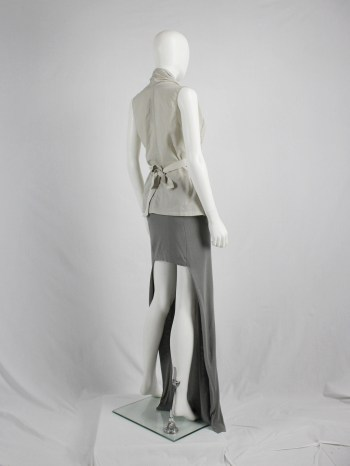 vaniitas vintage Maison Martin Margiela grey maxi skirt with mini-skirt back runway spring 2008