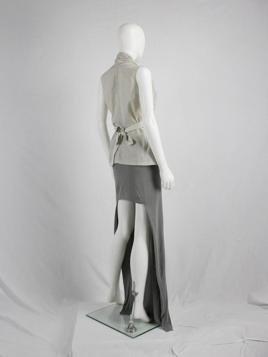 vaniitas vintage Maison Martin Margiela grey maxi skirt with mini-skirt back runway spring 2008