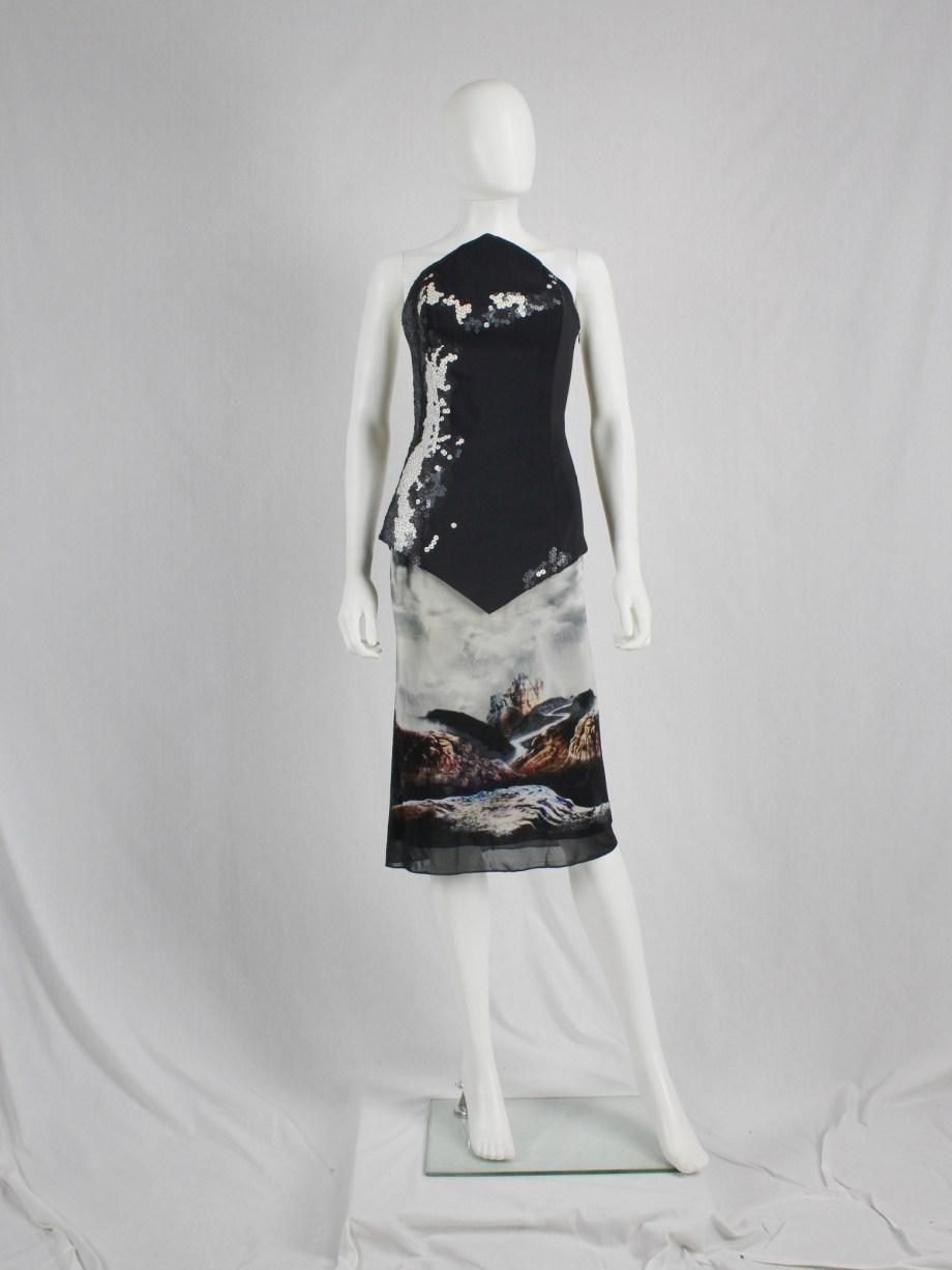 Maison Martin Margiela strapless dress printed with wild horses — spring 2008