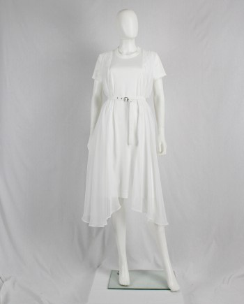 Noir Kei Ninomiya white belted dress with sheer side drapes — fall 2016