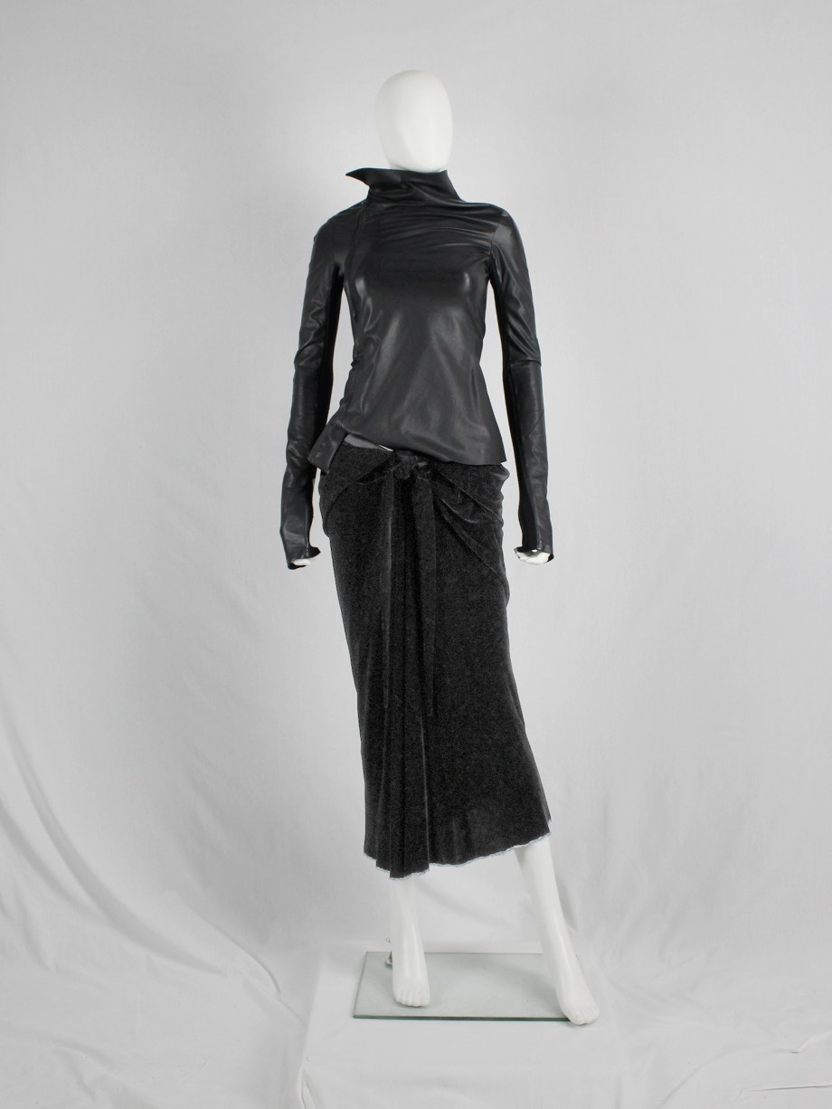 vaniitas vintage Rick Owens MOOG black draped velvet skirt with front tie fall 2005 3754