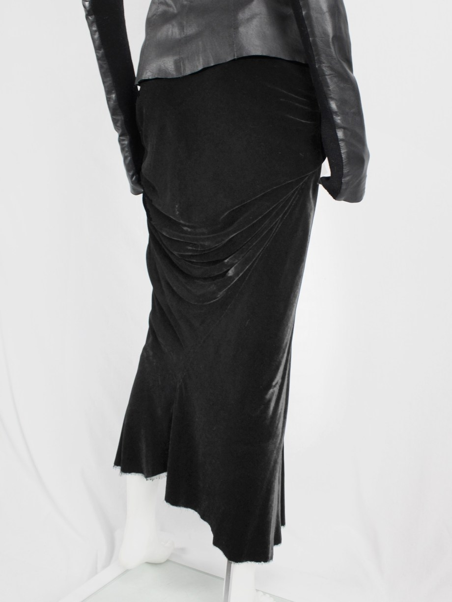 Rick Owens MOOG black draped velvet skirt with front tie — fall 2005