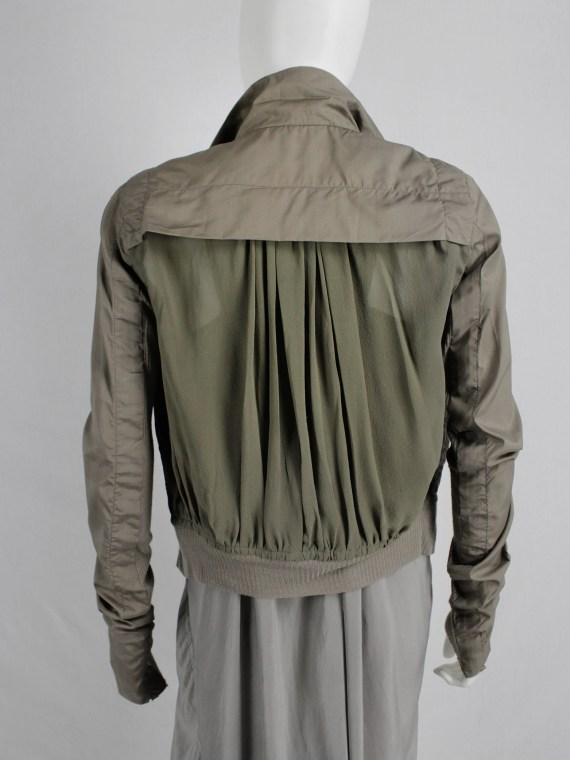 Rick Owens beige bomber jacket with moss green pleated back panel