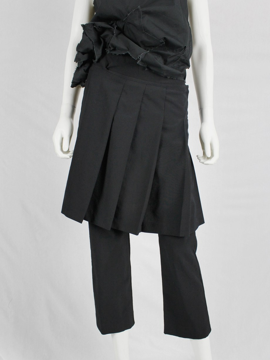 vaniitas vintage Comme des Garçons tricot black trousers with overlapping pleated skirt AD 1999 9713