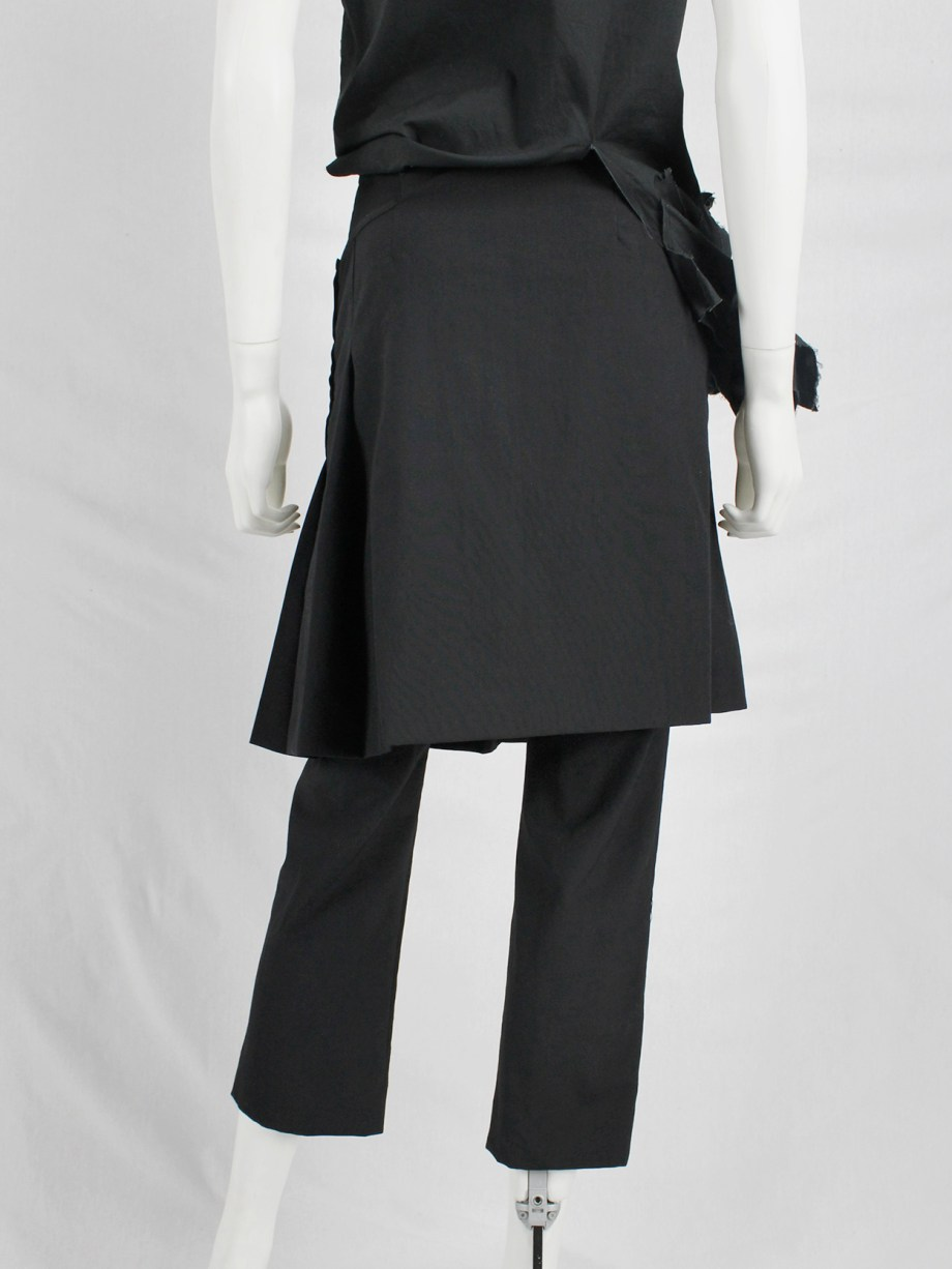 vaniitas vintage Comme des Garçons tricot black trousers with overlapping pleated skirt AD 1999 9733