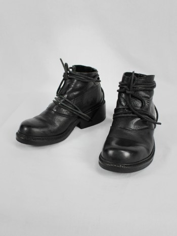 Dirk Bikkembergs black boots with flap and laces through the soles (38) — late 90's