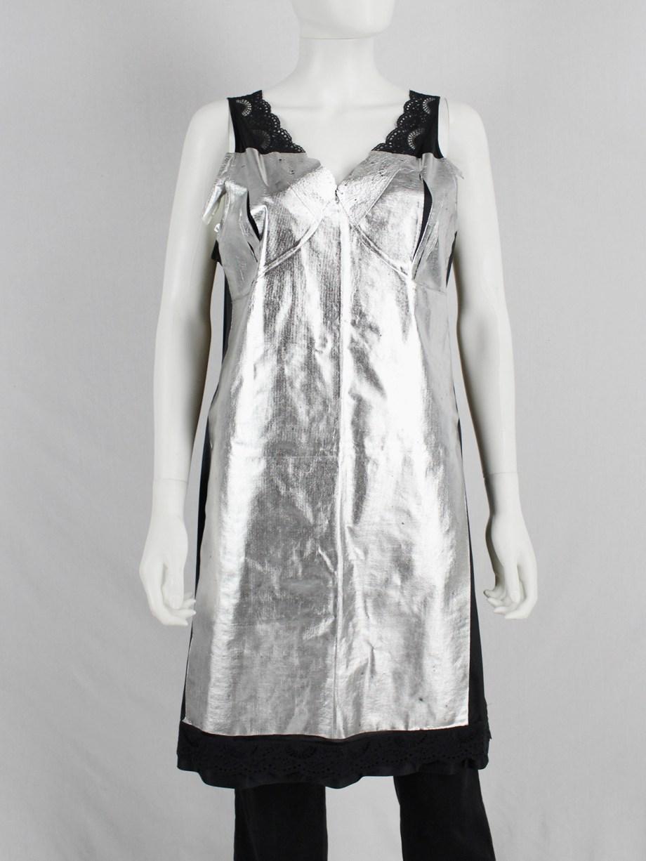 Maison Martin Margiela artisanal black lace dress with pressed silver foil — spring 2003