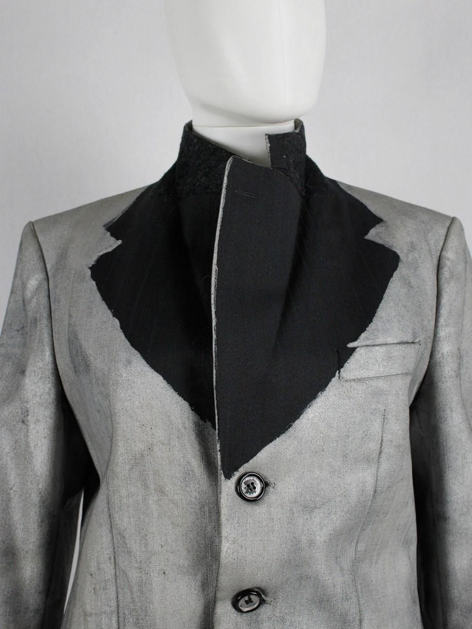 Maison Martin Margiela artisanal silver painted pinstripe blazer — fall 1999