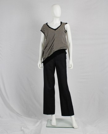 Maison Martin Margiela beige and black striped top, stretched out on one side — spring 2005