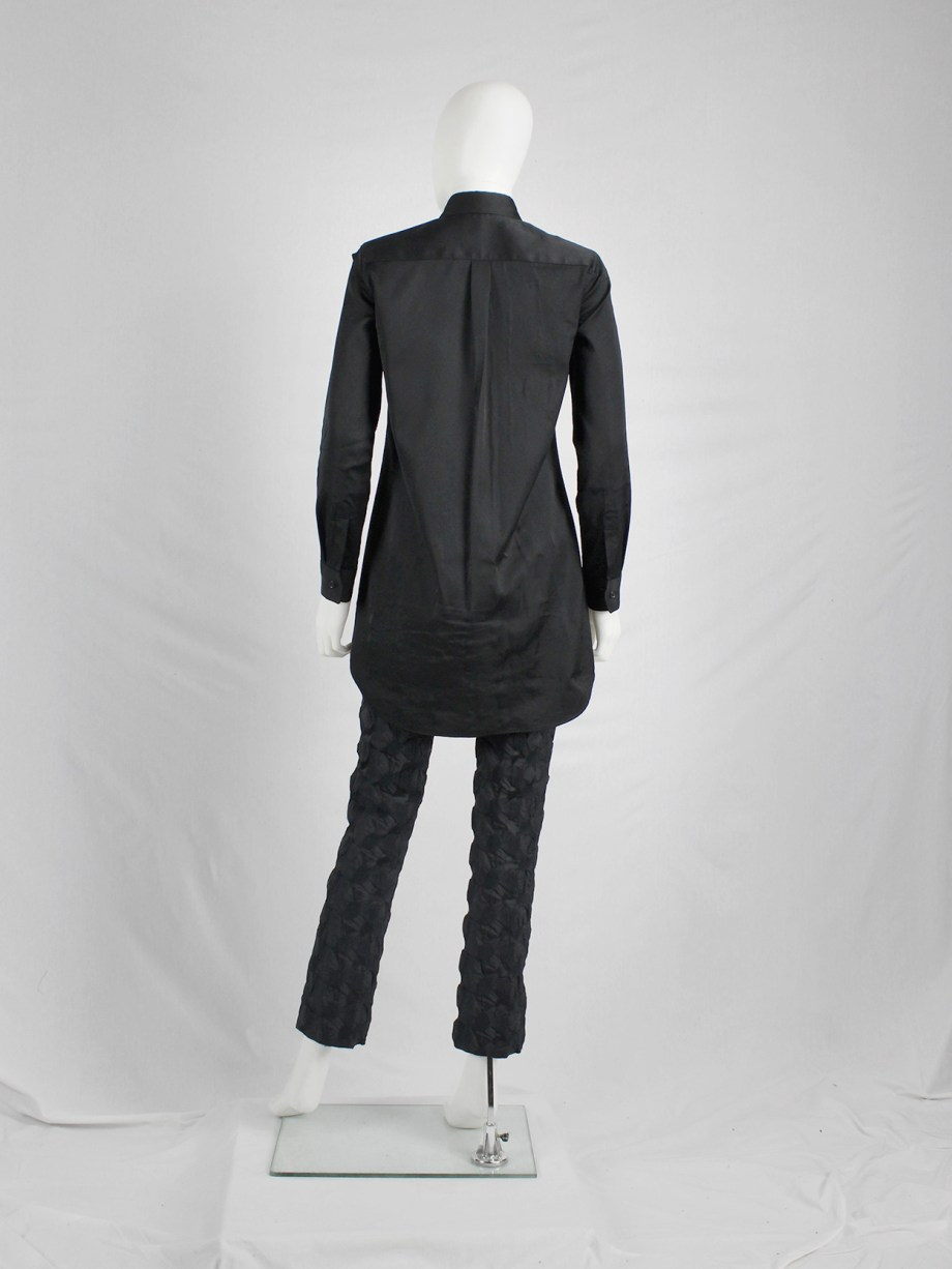 Noir Kei Ninomiya black shirt with laser cut-outs and destroyed knit appliqués — fall 2013