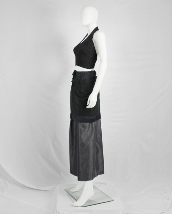 Maison Martin Margiela black crop top with open back — fall 1999