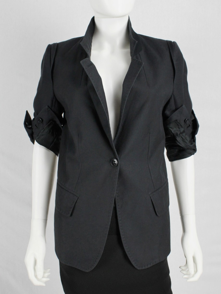 Ann Demeulemeester black blazer with rolled-up sleeves