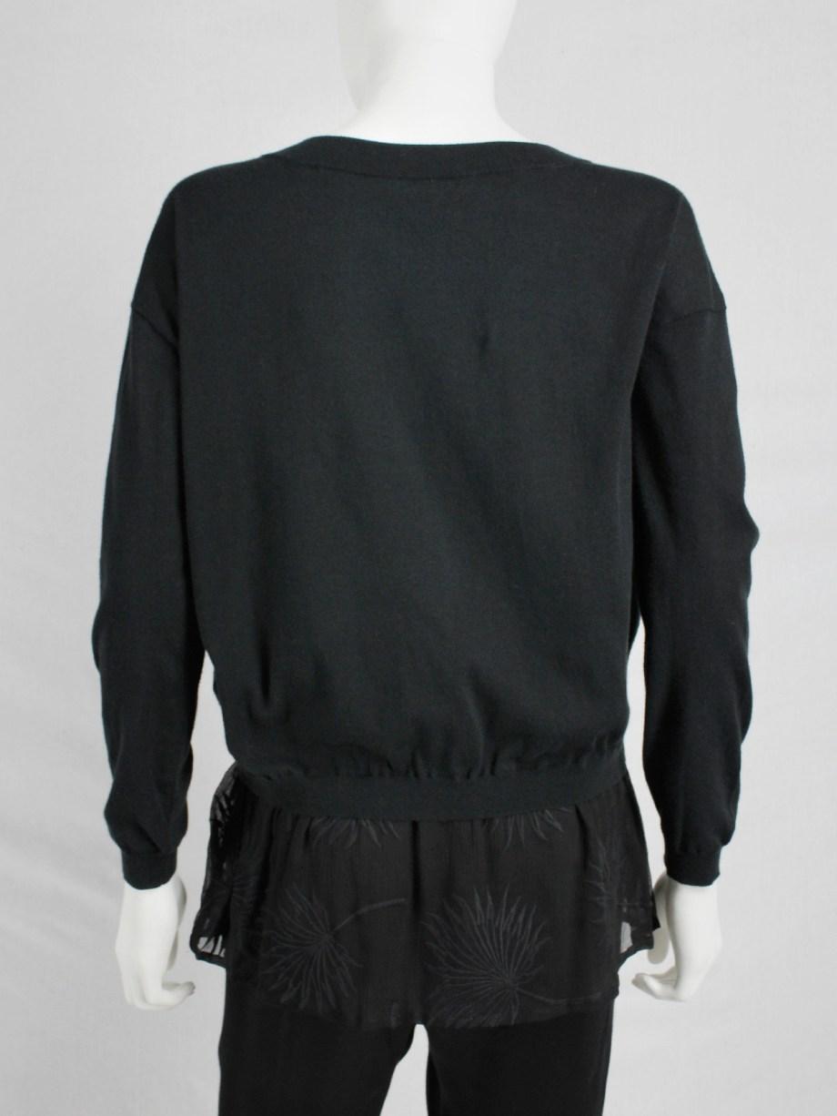Ann Demeulemeester black jumper with sheer embroidered hem