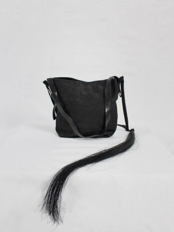 Ann Demeulemeester black leather shoulder bag with extra long horsehair tassel