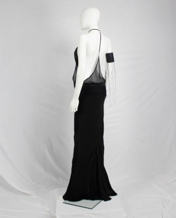 Ann Demeulemeester black sheer backless top with minimalist strap — spring 2006