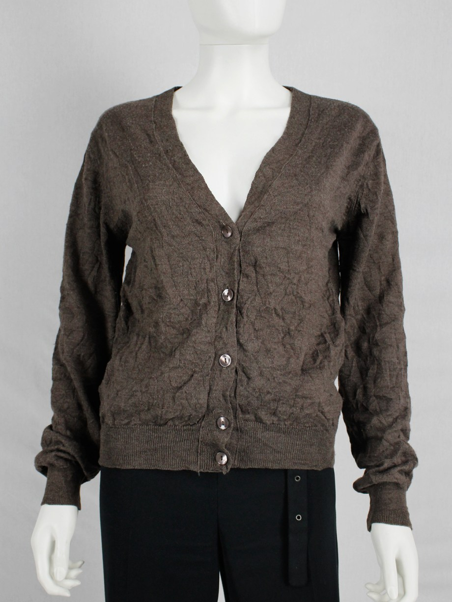Maison Martin Margiela brown cardigan with permanent wrinkles — spring 1999