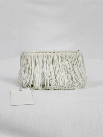 Maison Martin Margiela white coin pouch covered in fringes — fall 2008