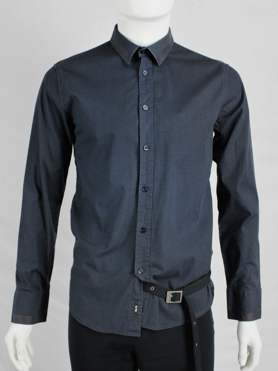 Dirk Bikkembergs blue shirt with laminated trims on the collar and cuffs