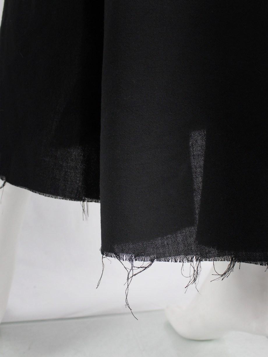 Dries Van Noten black gathered maxi skirt with frayed trim