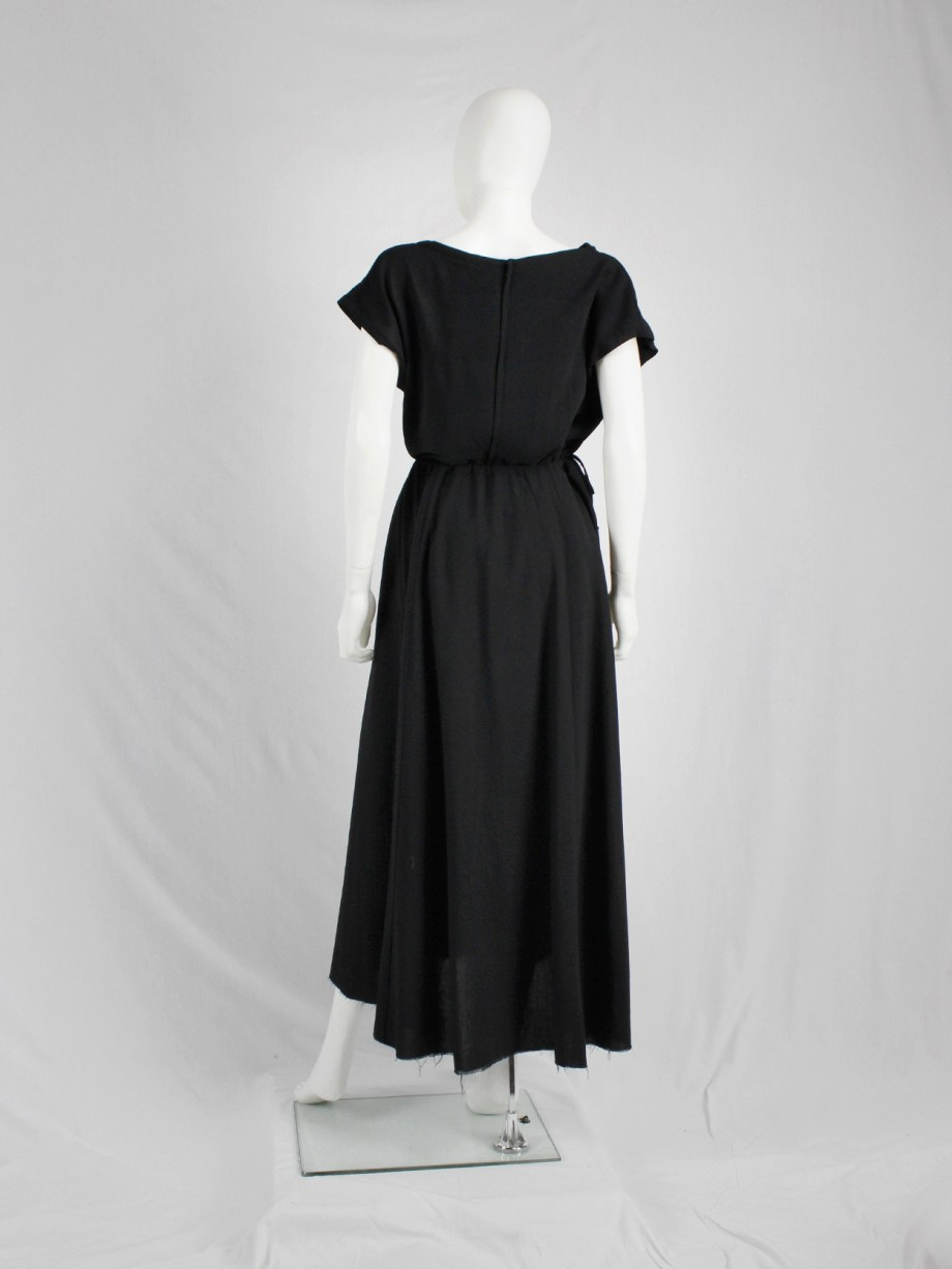 vaniitas Dries Van Noten black gathered maxi skirt with frayed trim 3530