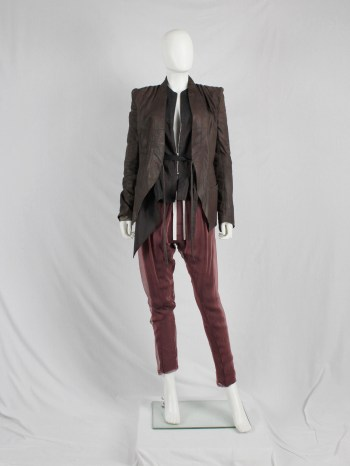 Haider Ackermann burnt orange harem trousers with sheer overlay