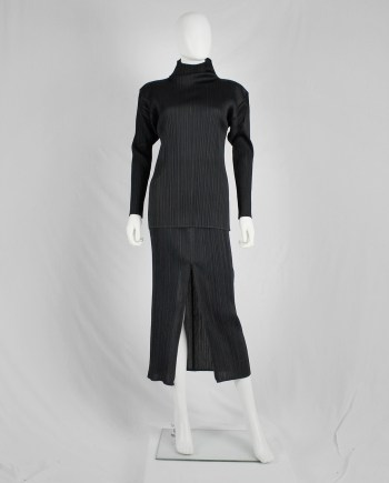 Issey Miyake Pleats Please black maxi skirt with front zipper