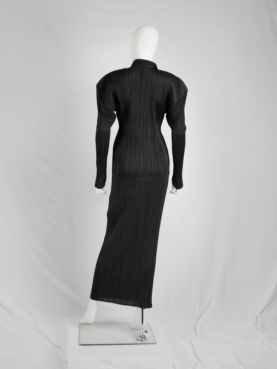 Issey Miyake Pleats Please black pleated maxi skirt