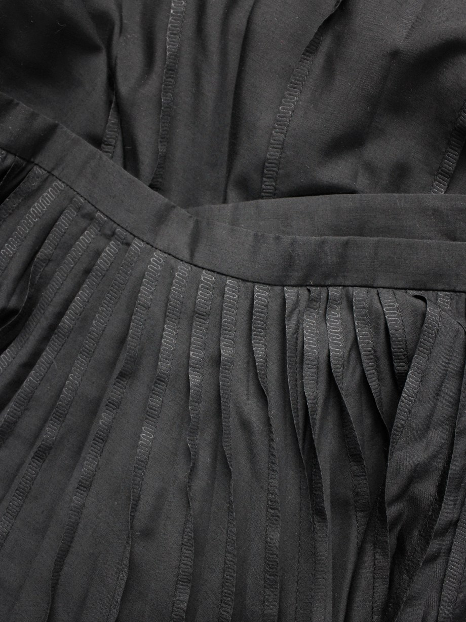 Issey Miyake black maxi skirt with inside out pleats