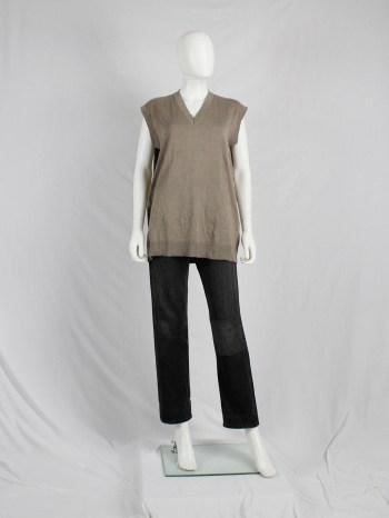 Maison Martin Margiela beige sweater vest with permanent wrinkles — spring 1999