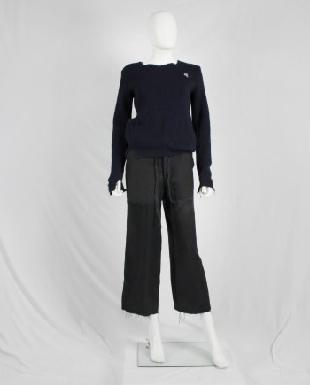 Maison Martin Margiela blue destroyed jumper with holes — fall 2000