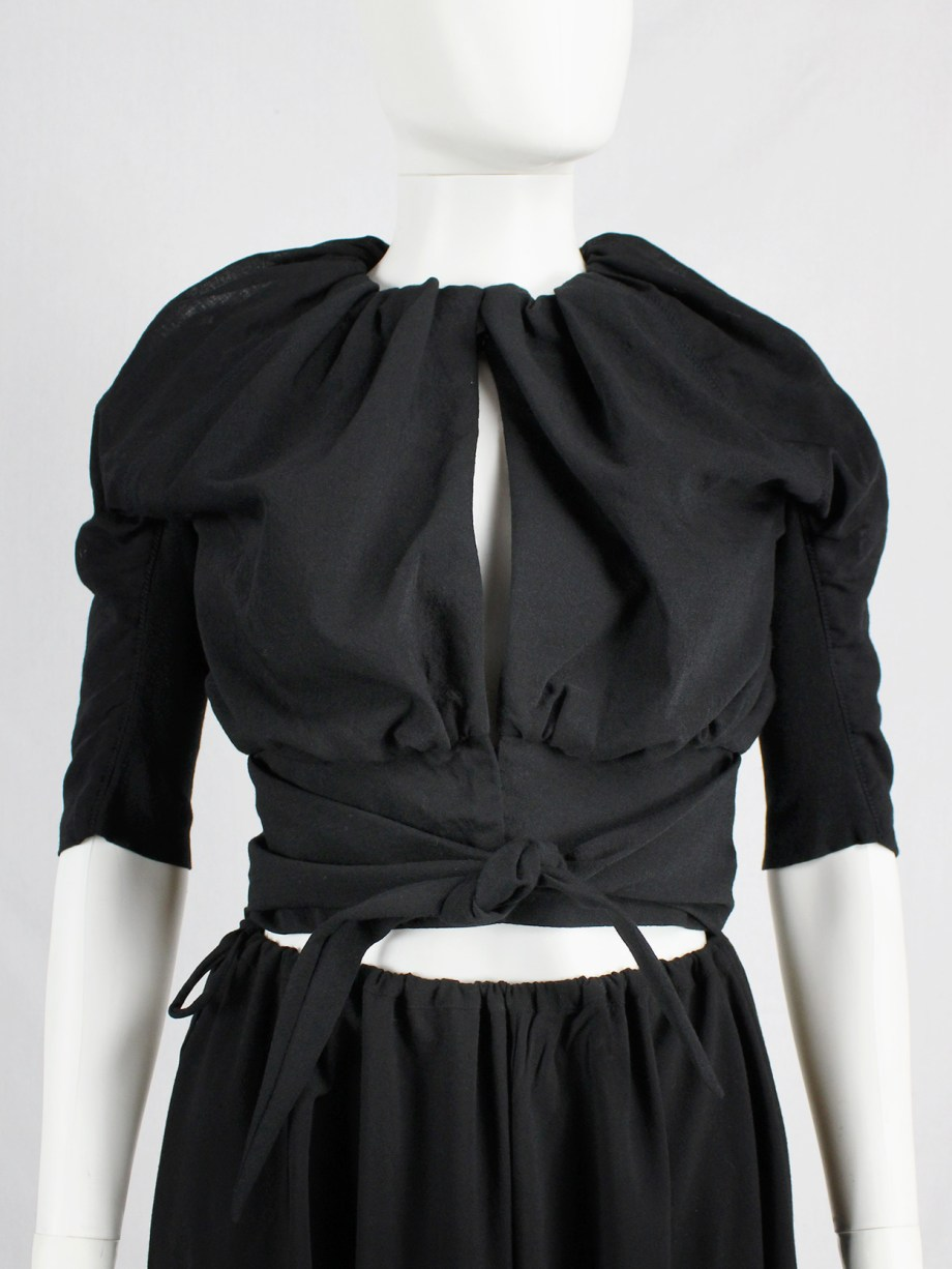 Rick Owens LIMO black cropped jacket with tie-front and gathered neckline — fall 2011