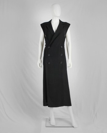 Y's Yohji Yamamoto black maxi dress with blazer lapels and double-breasted buttons